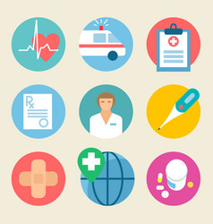 medical icon set health care medicine service vector image