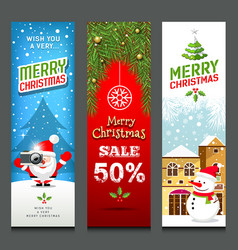 merry christmas banners design vertical vector image