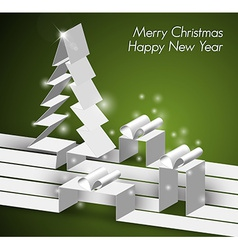 Merry Christmas card with a white tree and gift vector image