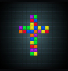 multicolor cross old video game design vector image