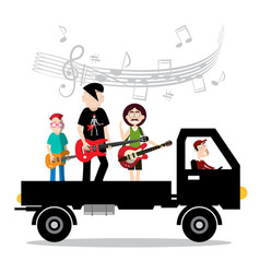 music band on van with driver isolted on white vector image
