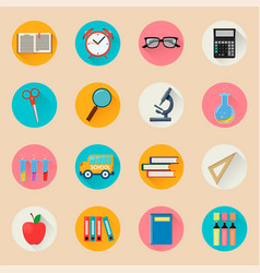 Objects for school back to study set of round vector