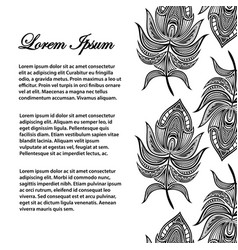 Oriental feathers banner or background vector