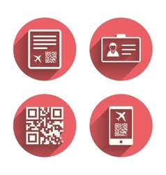 QR scan code icon Boarding pass flight sign vector