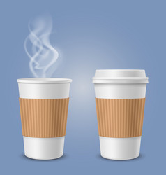 realistic steam in coffee cup paper or plastic 3d vector image