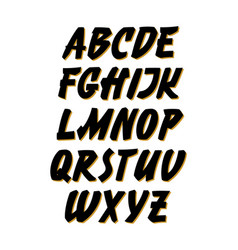 retro calligraphy hand lettering font alphabet vector image