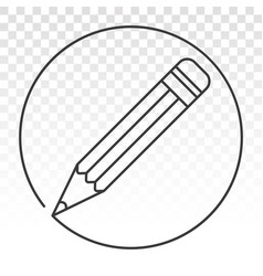 Rounded on pencil line art icon for apps vector