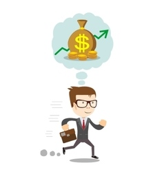 Running Businessman dreaming about money vector image