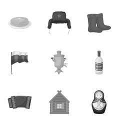 Russia country set icons in monochrome style Big vector