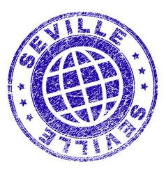 Scratched textured seville stamp seal vector