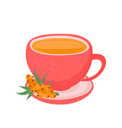 sea buckthorn tea in a glass cup vector image