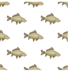 Seamless pattern with common carp isolated on vector