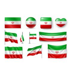 Set iran flags banners banners symbols flat vector