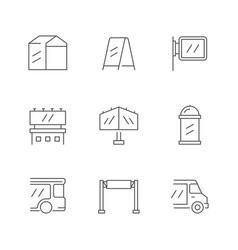 Set line icons outdoor advertising vector