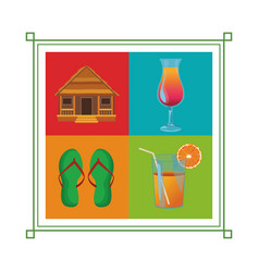 set of beach vacation icon vector image