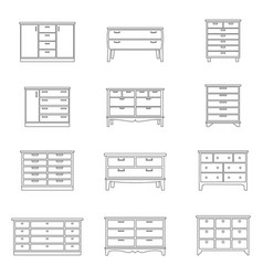 Set of chests of drawers vector