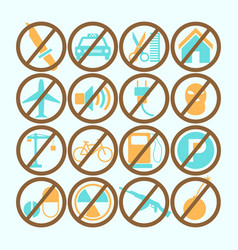 set of colored forbidden signs vector image