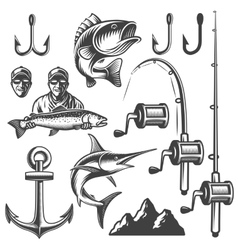 Set of monochrome fishing elements vector