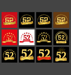 set of number fifty-two 52 years celebration vector image