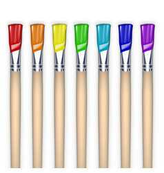seven colors rainbow colorful paint brushes vector image