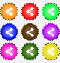 Share icon sign A set of nine different colored vector