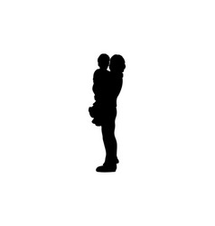 silhouette loving mom with bain her arms vector image