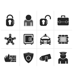 Silhouette social security and police icons vector image
