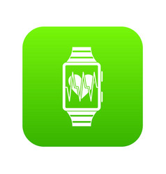 smartwatch with sport app icon digital green vector image