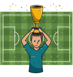 soccer player with cup vector image