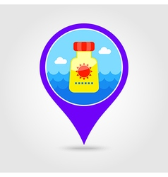 Sunscreen pin map icon summer vacation vector