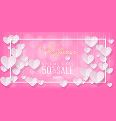 sweet valentines day sale pink background paper vector image