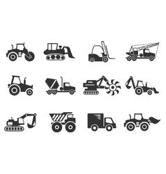 Symbols of Construction Machines vector image