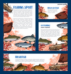 Templates set of fishes for fishing sport vector