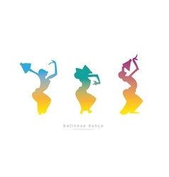 Three girls dancing balinese dance vector