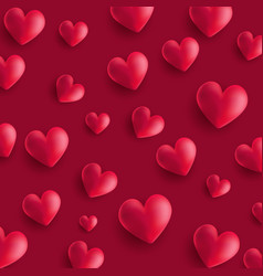 valentines day background with 3d style hearts vector image