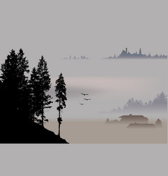 Village valley surrounding by fog vector