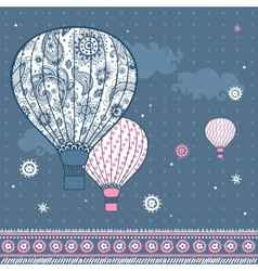 Vintage with air balloons vector