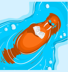 Walrus floats and reads a book vector