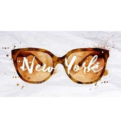 Watercolor glasses New York vector image
