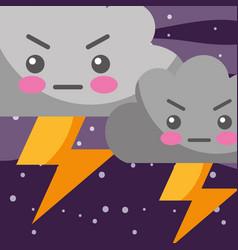 weather kawaii thunder clouds cartoon vector image
