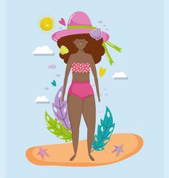 woman hello summer holiday design vector image
