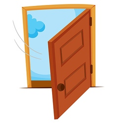Wooden door being opened vector