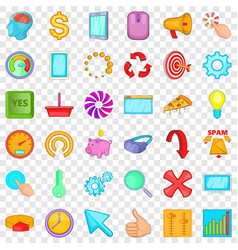 Workplace icons set cartoon style vector