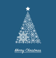 xmas card with christmas tree made from snowflakes vector image