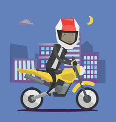 Young man riding motorcycle at night vector