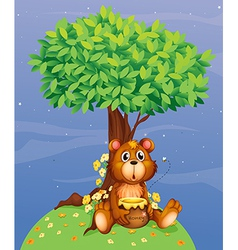 A bear holding a honey under a tree vector image vector image