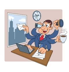 Busy businessman at office 2 vector image vector image
