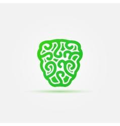 Green brain icon vector image