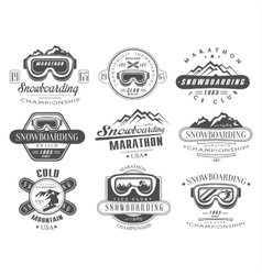 Snowboarding Logo and Label Template Set vector image