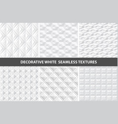 white decorative seamless 3d geometric textures vector image vector image